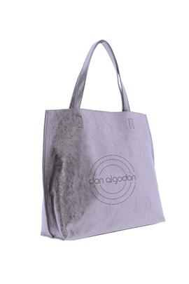Bolso shoping DON ALGODON bronce logo perforado