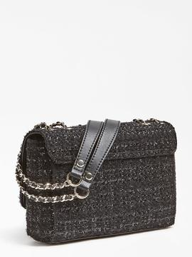 Bolso GUESS Cessily Tweed  negro